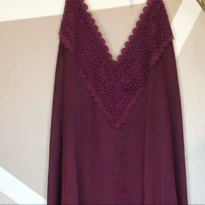 Burgundy dress with open back